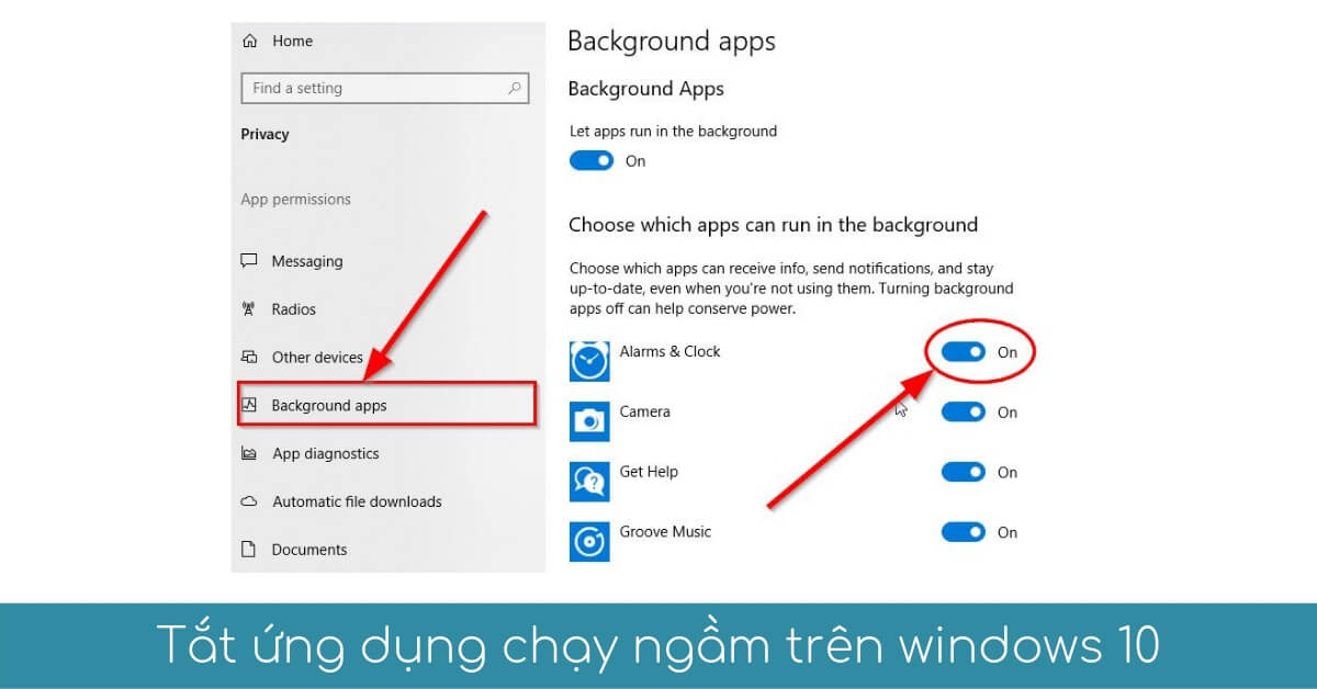 tat cac che do chay nen ngam tren windows 10
